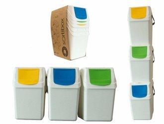 Kosz na śmieci 3x25L do segregacji SORTIBOX białe - z rączką - model 2020