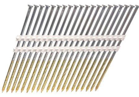 Gwoździe taśmowe łączone plastikiem 21°  4,2/130mm/skrętne/galwanizowany