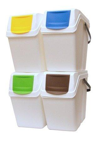 Kosz na śmieci 4x25L do segregacji SORTIBOX białe - z rączką - model 2020
